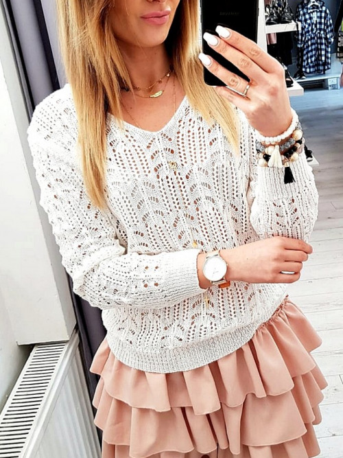 Sweterek BLANCHE AŻUR wiosenny WHITE