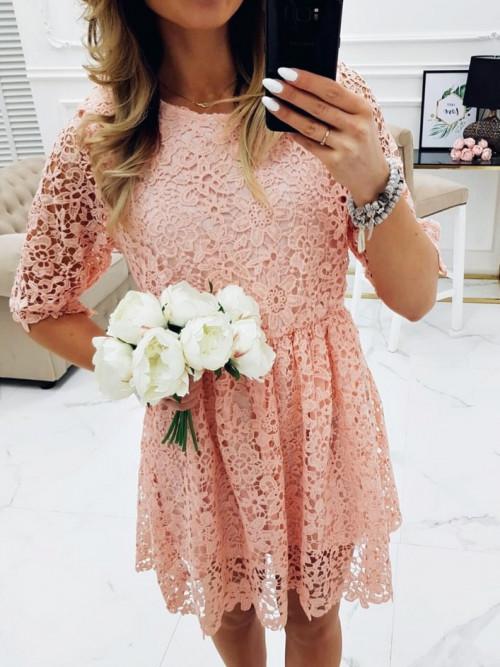 Sukienka LILLY ROSSE koronka BOHO pudrowa