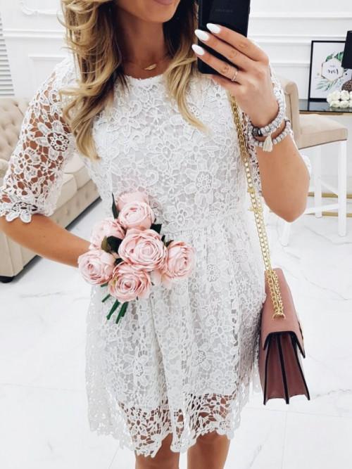 Sukienka LILLY ROSSE koronka BOHO white