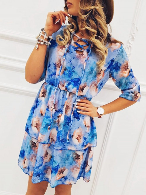 Sukienka AGELLO FOWERS summer BLUE