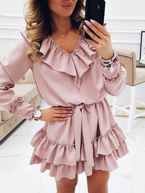Sukienka BOCCAS Prestige PUDROWA
