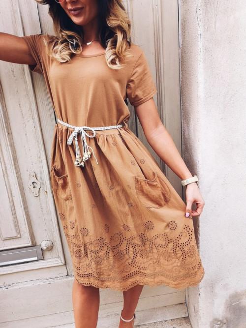 Sukienka SUNOVA BOHO AŻUR Camel
