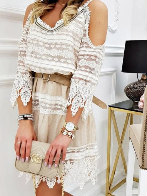 Sukienka MIHOS ITALY Boho beige