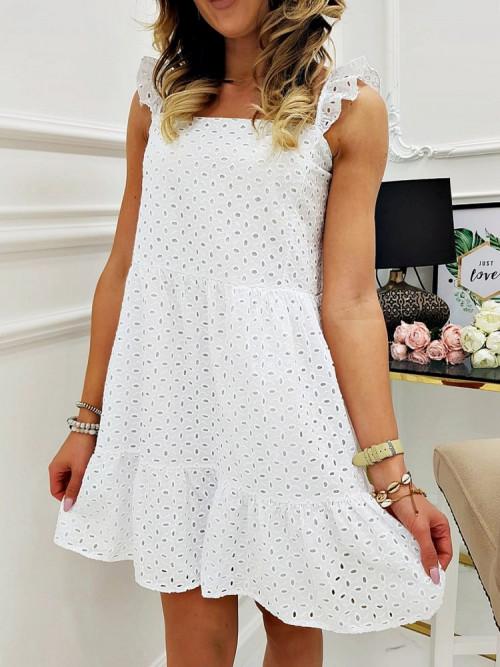 Sukienka FELIO BOHO Ażurowa WHITE