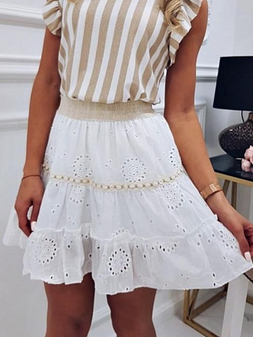 Spódnica FRILLA BOHO white and beige