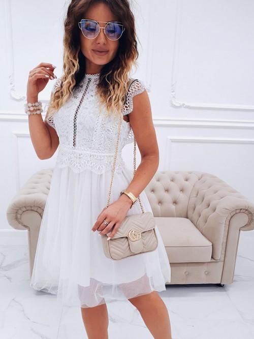 Sukienka MODENA ELEGANCE koronka WHITE