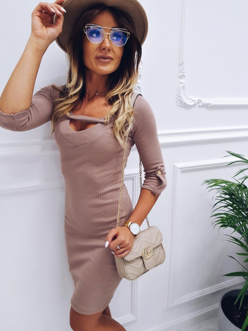 Sukienka V-neck BODYCON PRĄŻEK