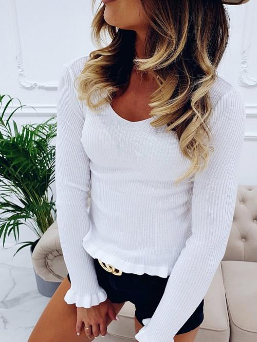 Sweterek SLIMFIT KREM v-neck