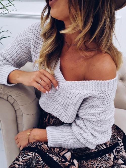 Sweter EMMA Beige V-NECK