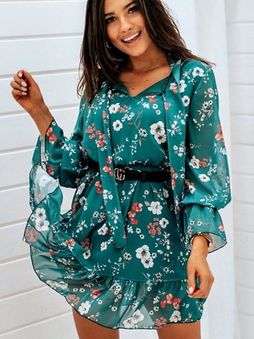 Sukienka CHELSEA FLOWERS butelkowa zieleń