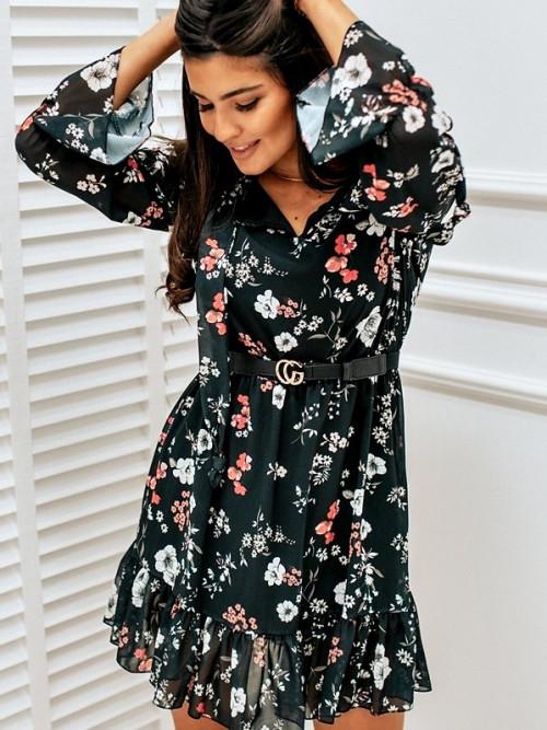 Sukienka CHELSEA FLOWERS czerń