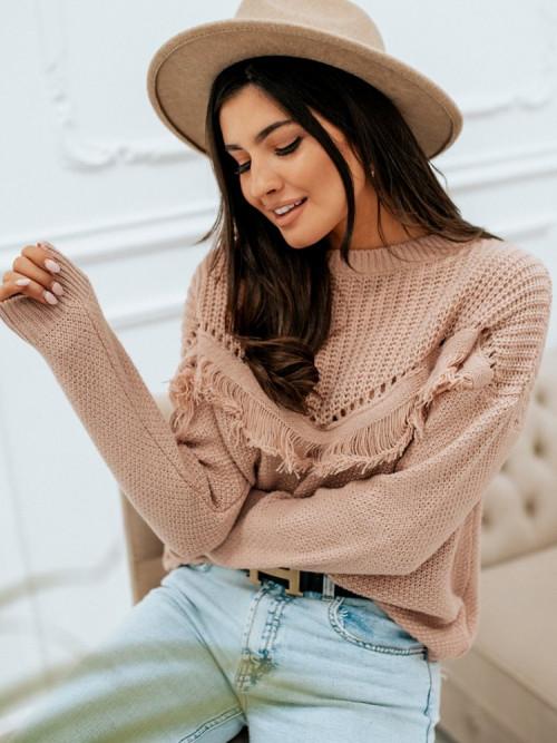 Sweter ZARKA TRENDS pudrowy