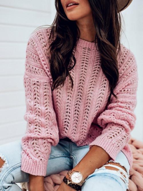 Sweter AŻURKOWY MILLIE puder