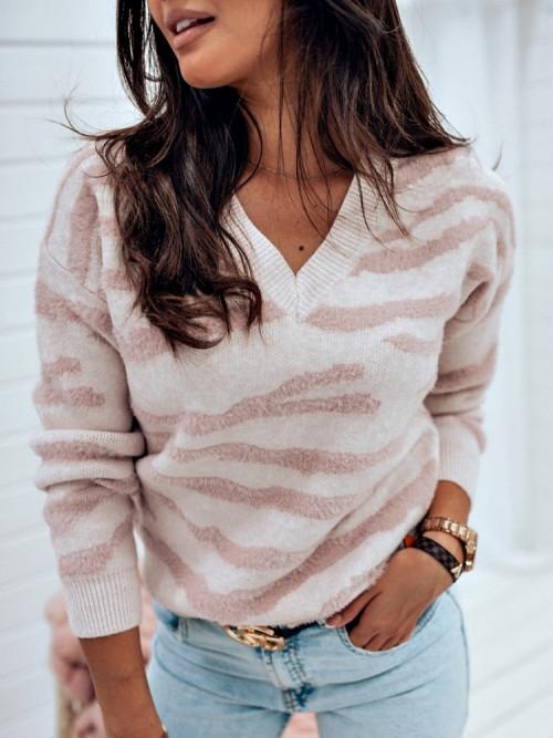 Sweter V-NECK ZEBRANNO puder