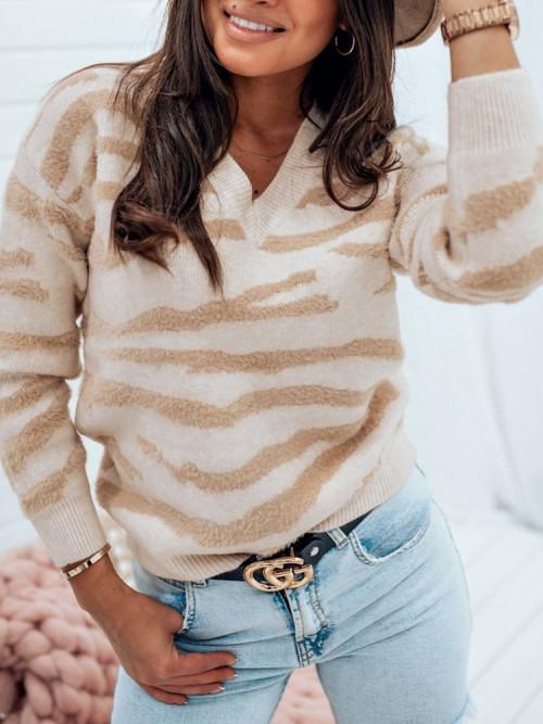 Sweter V-NECK ZEBRANNO beige