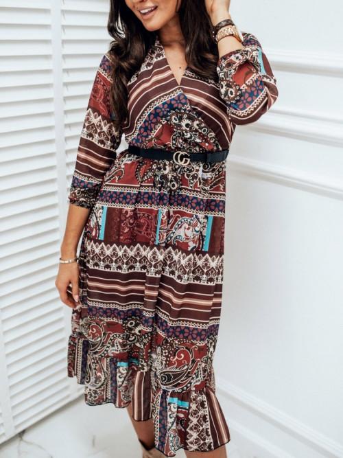 Sukienka VINTAGE Casco long BURGUNDY