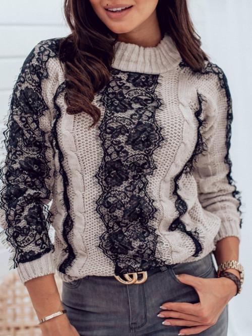Sweter Di CAMPIO KORONKA beige