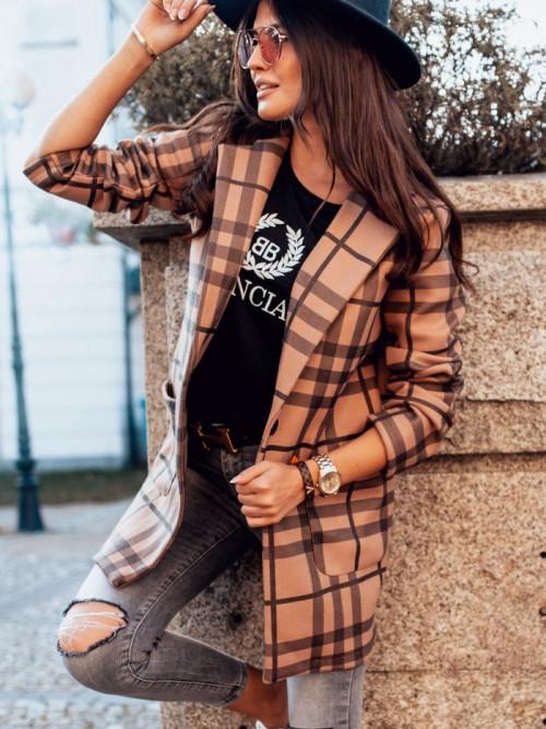 Płaszcz VALENTINA Camel CHECK
