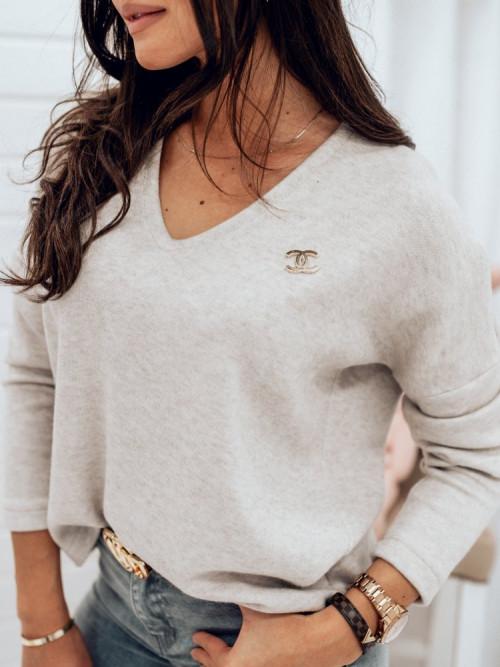 Sweterek V-NECK BEIGE CASUAL basic