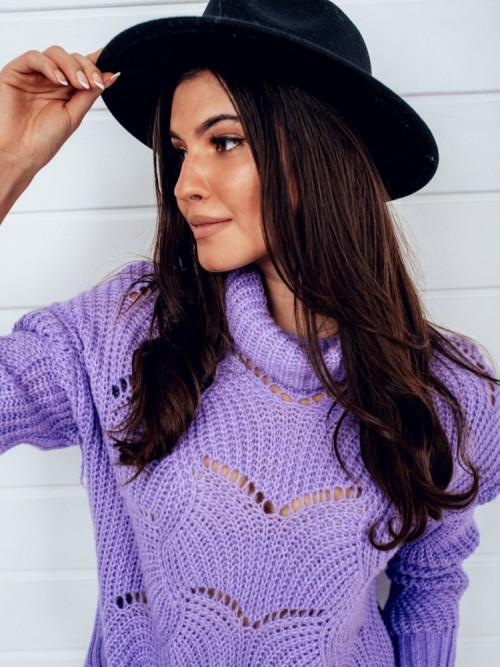 Sweter Emma AŻUROWY fiolet