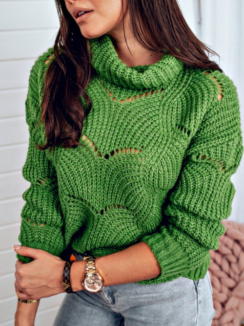 Sweter Emma AŻUROWY green