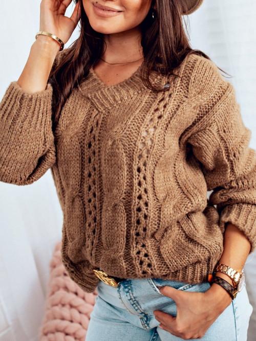 Sweter V-NECK CASCO mocca