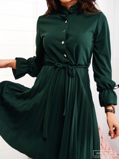 Sukienka ELEGANCE PLISOWANA butelkowa zieleń