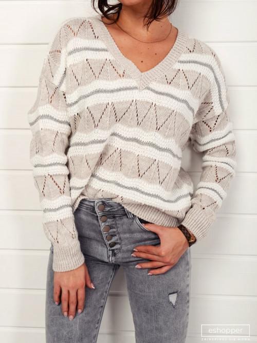 Sweter TRADIZIONNE V-neck beige
