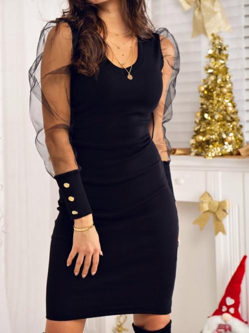 Sukienka PRĄŻEK V-neck BLACK
