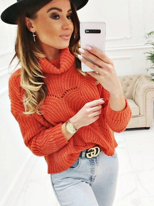 Sweter Emma AŻUROWY ORANGE