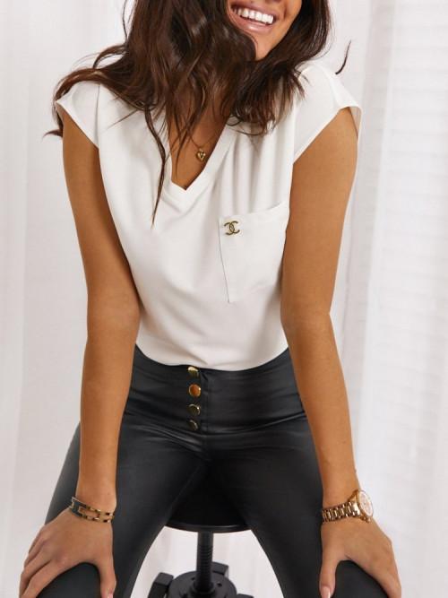 Elegance and BASIC V-NECK PRESTIGIO white