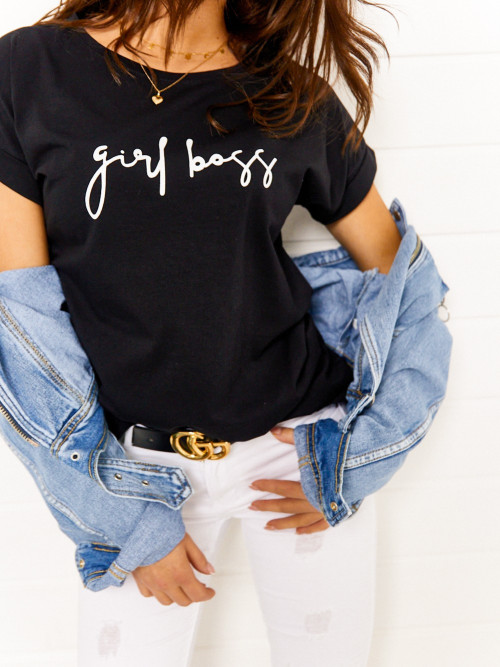 T-shirt Girl BOSS lifestyle BLACK