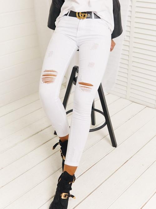 Spodnie High Waist DENIM MISS white