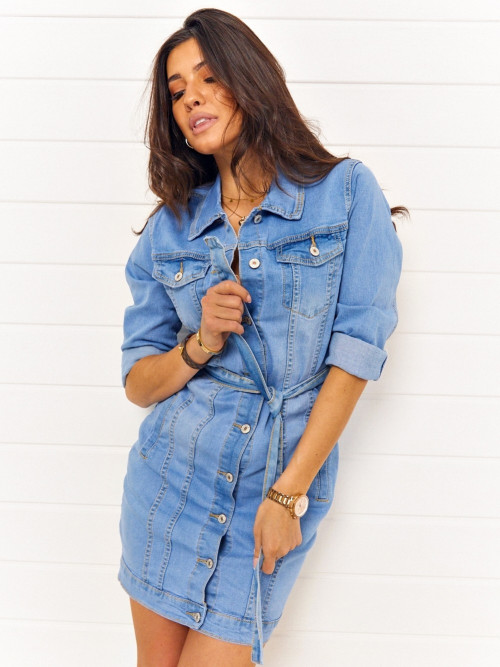 Sukienka DENIM JEANS GABBO light blue