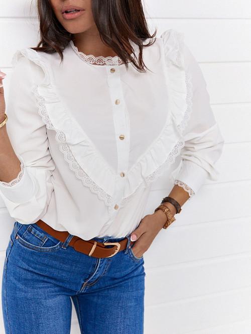 Koszula FRANCIS PREMIUM koronka WHITE