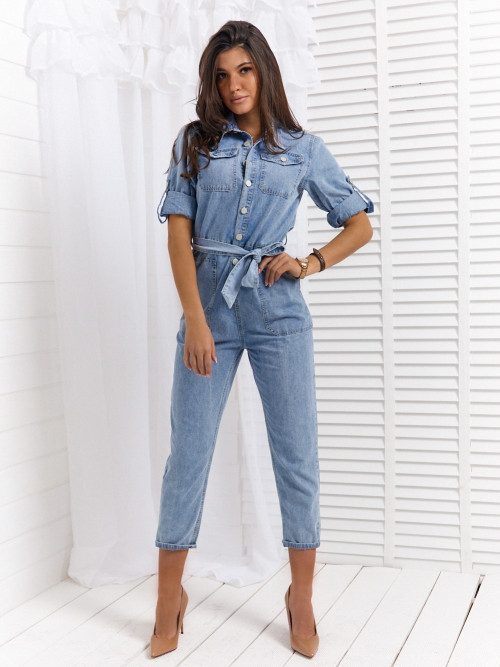 Kombinezon ROLL-UP POLA jeans denim