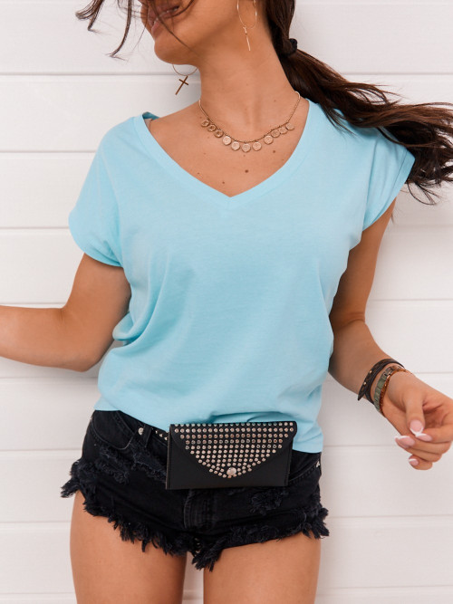 Tshirt BASIC SPRING baby blue v-neck