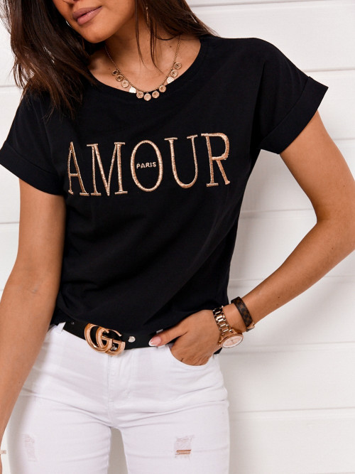 Tshirt AMORE PARIS gold and black