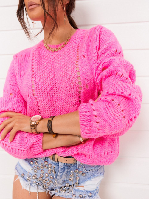 Sweter CATRICE ażur FUKSJA