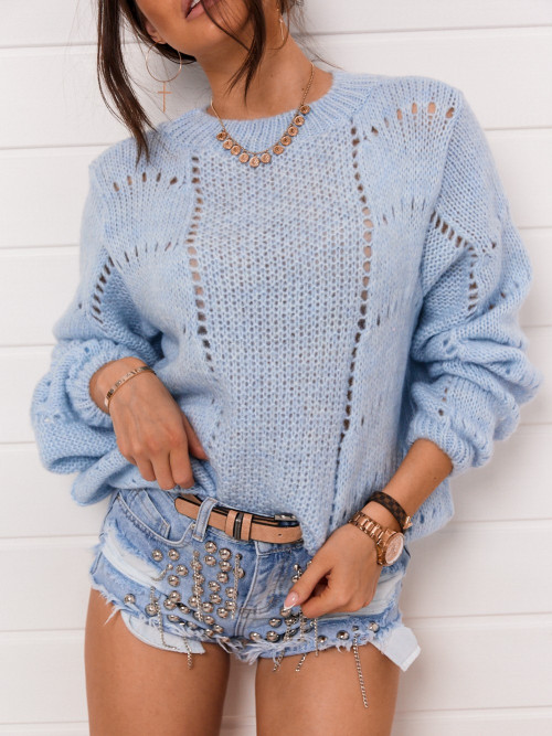 Sweter CATRICE ażur BABY BLUE