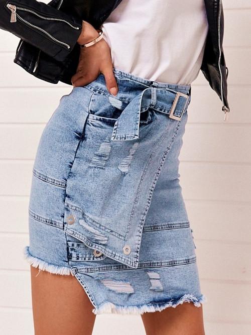 Spódnica ASYMETRYCZNA ripped denim jeans
