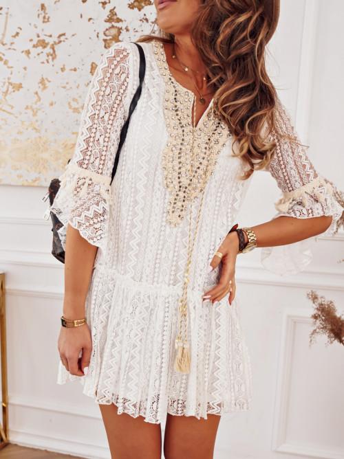 Sukienka LILAC BOHO zdobiona