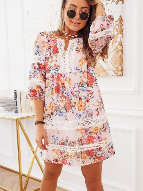 Sukienka LORENCO FLOWERS koronka puder