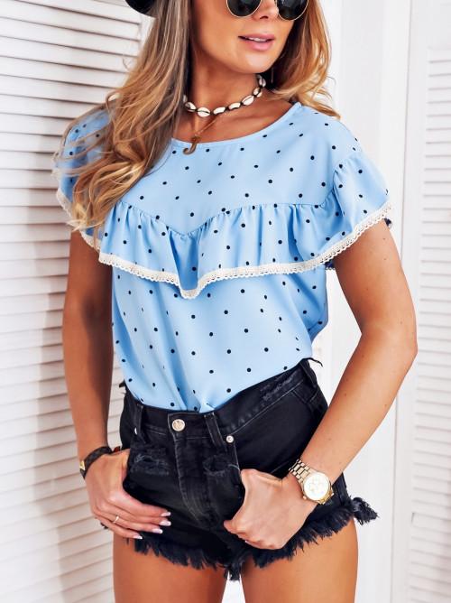 Bluzka elegance XSANAS w groszki niebieska