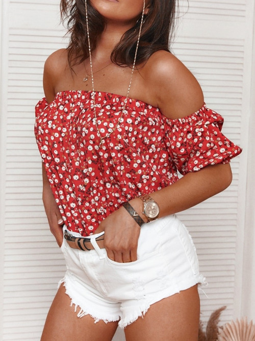 Bluzka FLORA hiszpanka kwiatki red