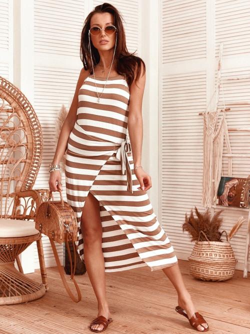Sukienka MAXI MARINE PASKI asymetryczna beż