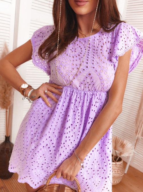 Sukienka w stylu boho koronka ażur BILLY fiolet