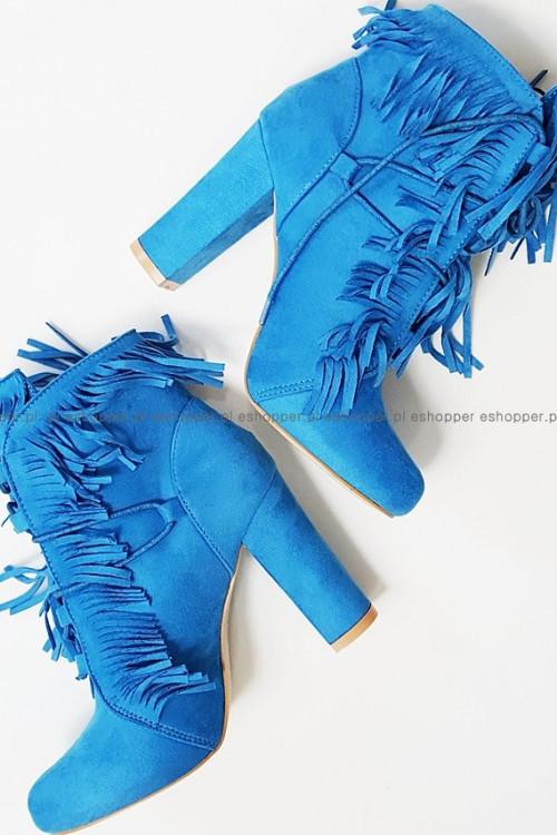 BUTY botki baby blue z FRĘDZLAMI