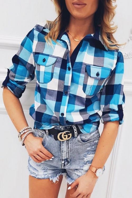 Koszula MORANTE ROLL-UP kratka BLUE