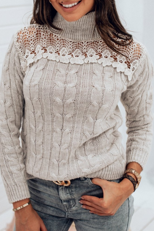 Sweter WARKOCZ KORONKA beige